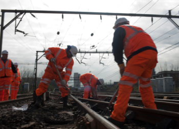 workers on track