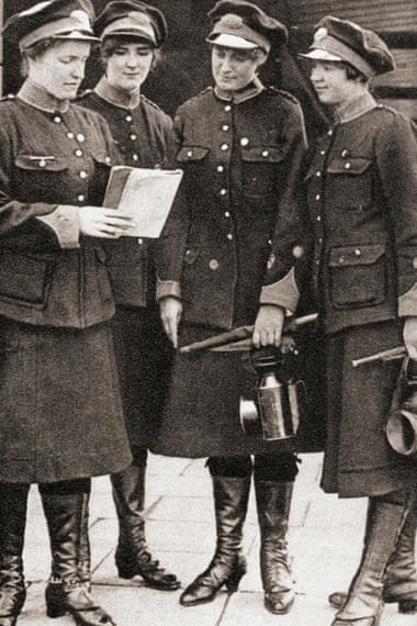 Women working as guards and inspectors during wartime