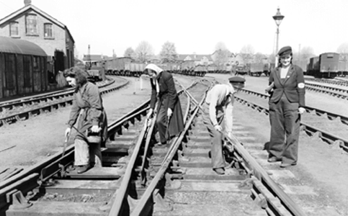 Women working on maintaining tracks and junctions